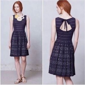 Anthropologie Sunstream Eyelet Navy Lace Dress
